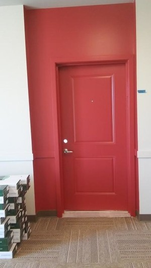red door after
